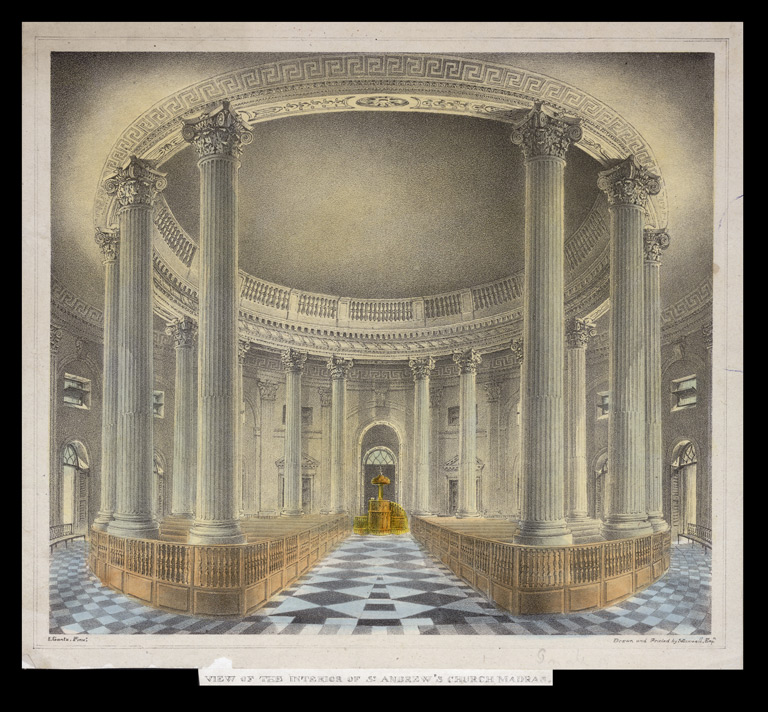 'View of the Interior of St Andrew's Church, Madras'.  Coloured lithograph by J.B. Maxwell after John Gantz, Madras.  Undated.